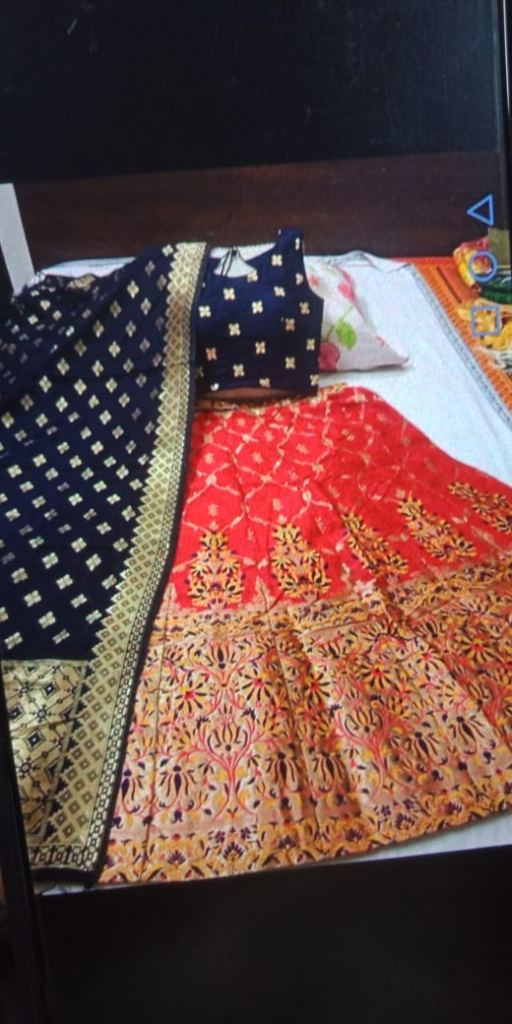 Banarasi brocade Lehenga With Padded Blouse And Banarasi Dupatta