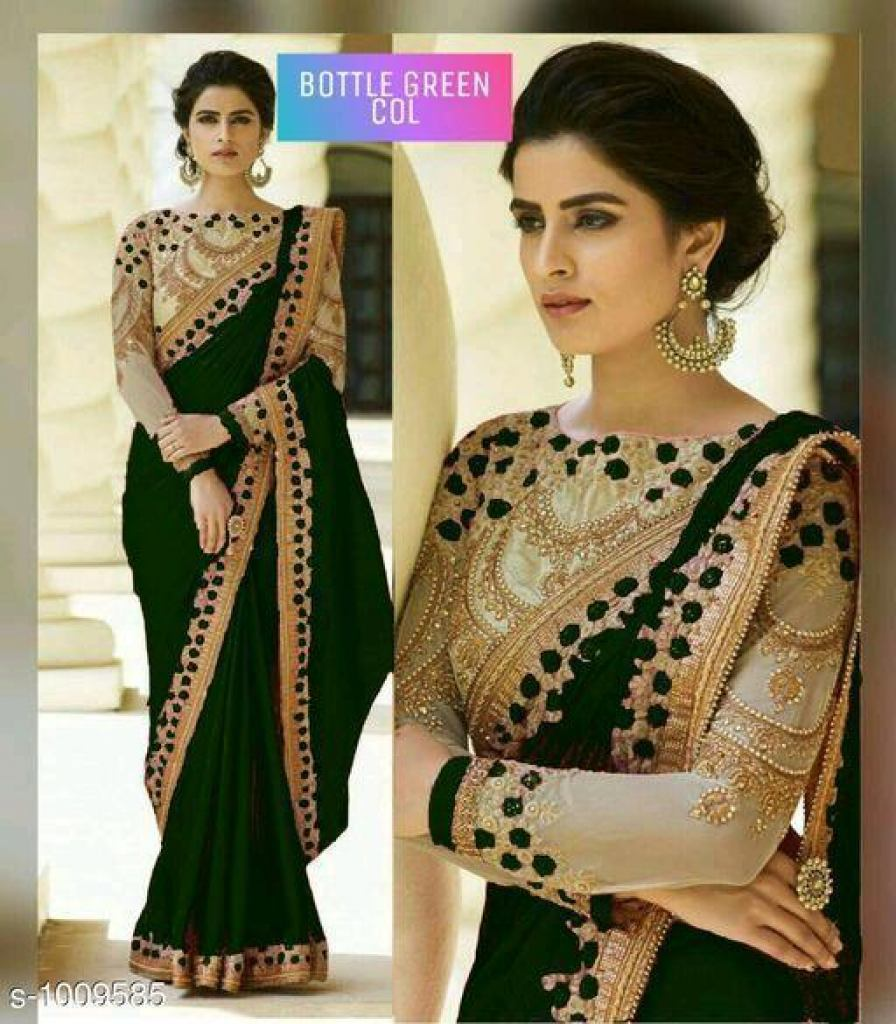Bottle Green Rangoli Silk Sarees n Embroidery Work