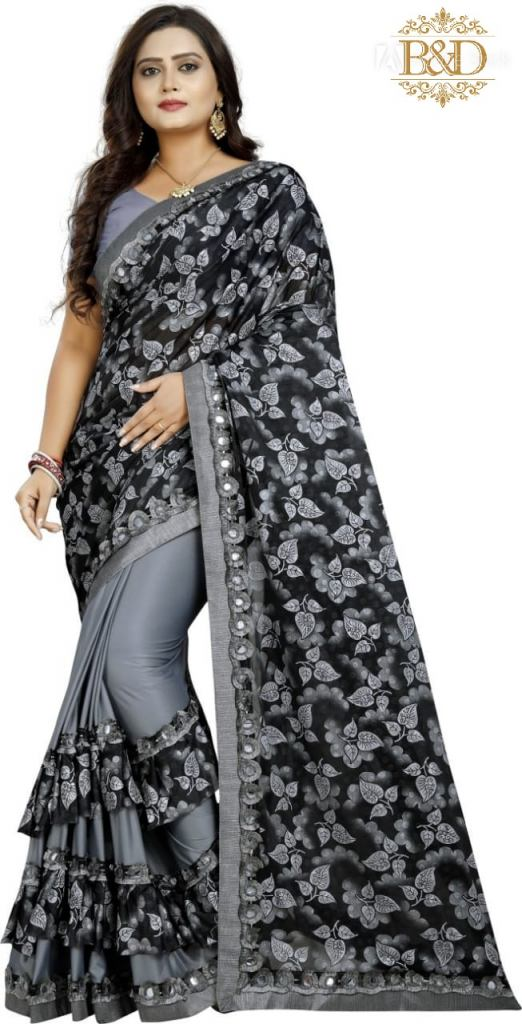 Fancy Ruffle Gray Sarees