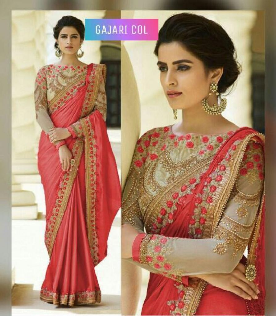 Gajari  Color Rangoli Silk Sarees n Embroidery Work