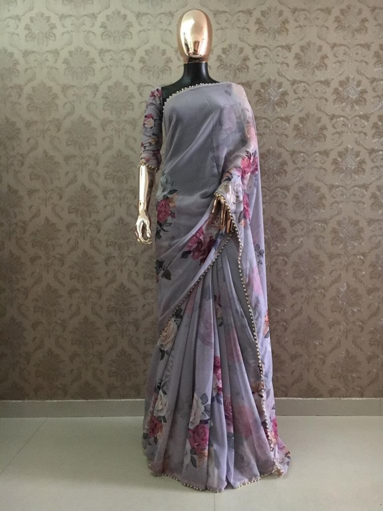 Party Wear Pure Georgette And Digital Print Sarees