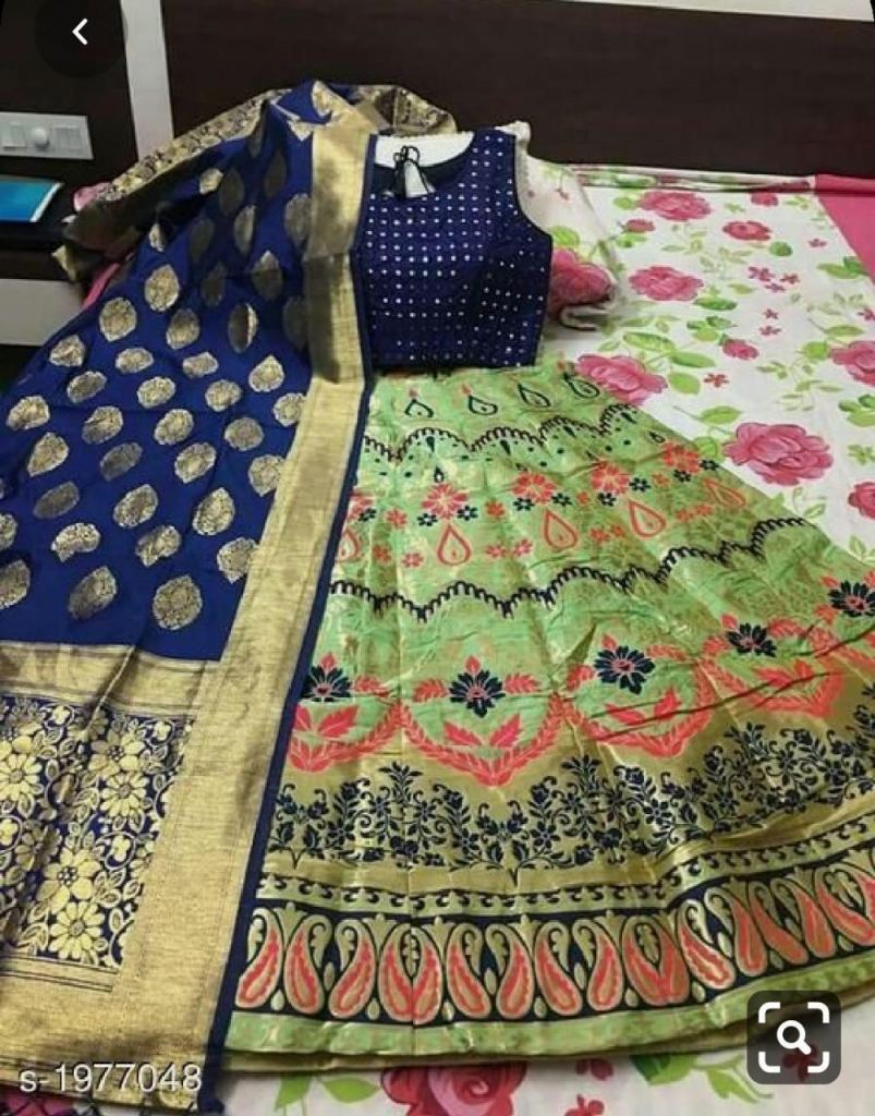 Semi Stitched  Banarasi brocade Lehenga With Padded  Blouse And Banarasi  Dupatta