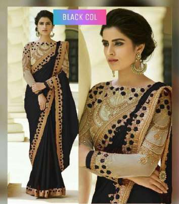 Black Color Rangoli Silk Sarees n Embroidery Work