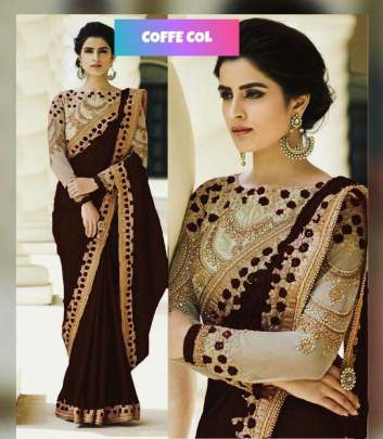 Coffee Rangoli Silk Sarees n Embroidery Work