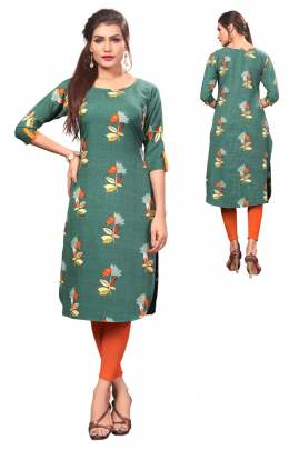 Digital Printed Straight Dark Green kurtis