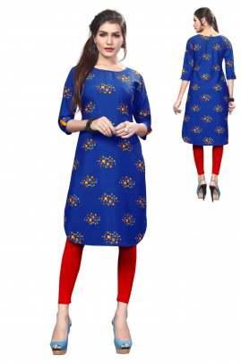 Digital Printed Straight Dark Blue kurtis