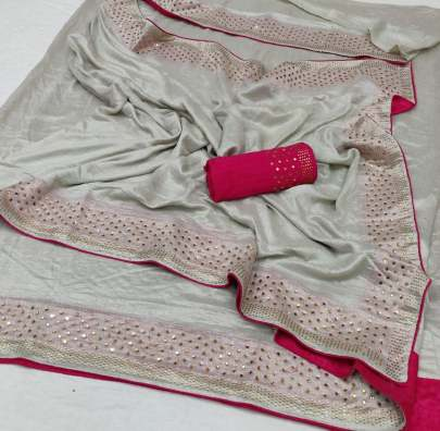 Fab Funda Cream n Pink Border Color Kashmiri silk Sarees