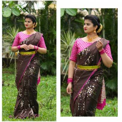 Fancy Banarasi silk Brown With Pink Border Sarees