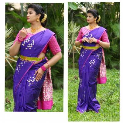 Fancy Banarasi silk Navy Blue With Pink Border Sarees