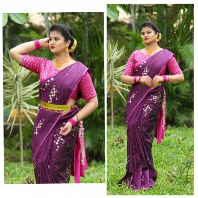 Fancy Banarasi silk Rani With Pink Border Sarees