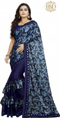 Fancy Ruffle Navy Blue Sarees