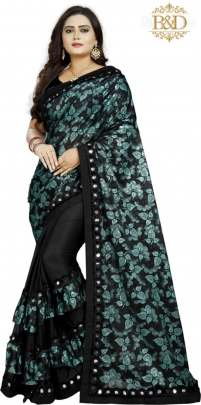 Fancy Ruffle Black Sarees