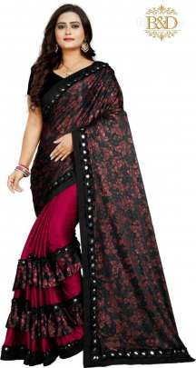 Fancy Ruffle Blood Red Sarees