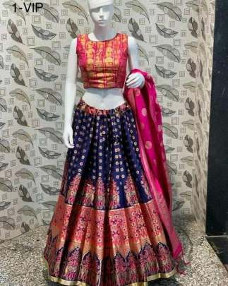 Festival Wear  Banarasi brocade Lehenga With Padded Blouse And Banarasi Dupatta