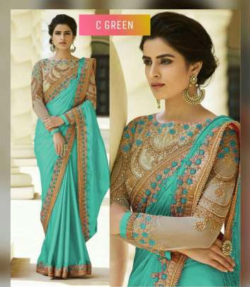 Green Color Rangoli Silk Sarees n Embroidery Work