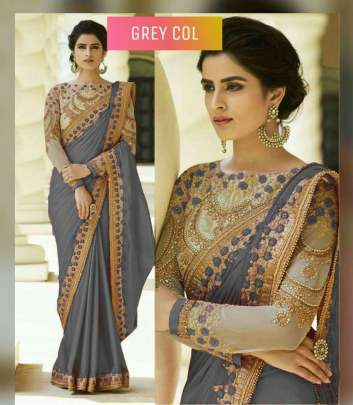 Grey Color Rangoli Silk Sarees n Embroidery Work