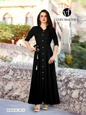 Long Party Wear Black Color Rayon Kurtis