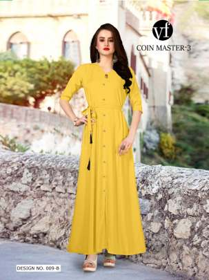 Long Party Wear Yellow Color Rayon Kurtis