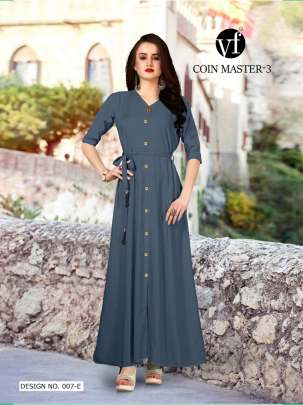 Long Party Wear Dark Grey Color Rayon Kurtis