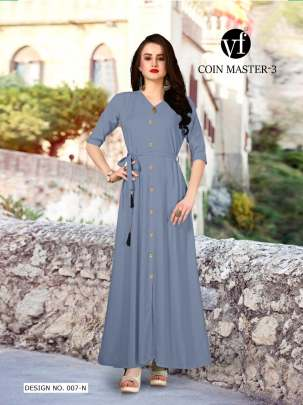 Long Party Wear Grey Color Rayon Kurtis