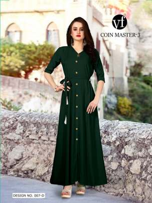 Long Party Wear Green Color Rayon Kurtis