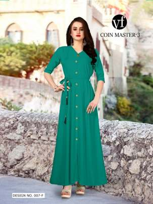Long Party Wear Light Green Color Rayon Kurtis