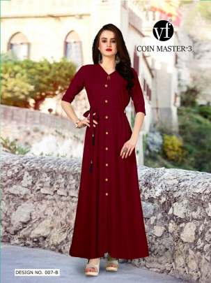 Long Party Wear Maroon Color Rayon Kurtis
