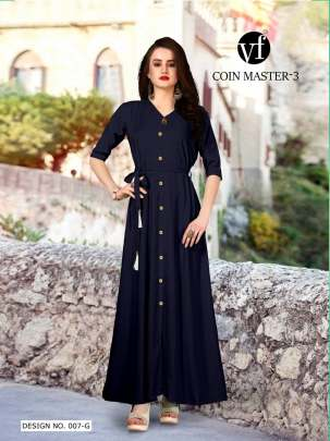 Long Party Wear Navy Blue Color Rayon Kurtis
