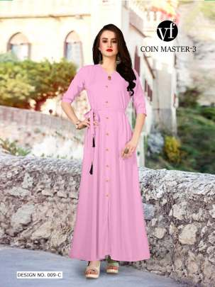 Long Party Wear Pink Color Rayon Kurtis
