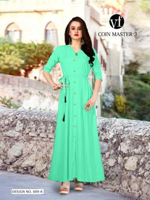 Long Party Wear Turquoise Color Rayon Kurtis
