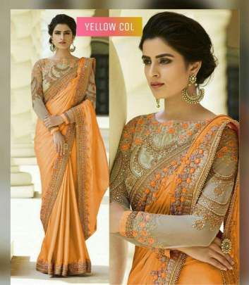 Orange Color Rangoli Silk Sarees n Embroidery Work