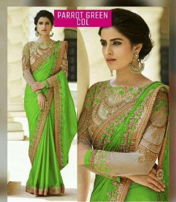 Parrot Green Color Rangoli Silk Sarees n Embroidery Work