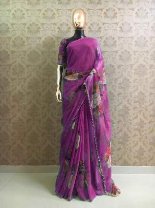 Party Wear Pure Georgette And Purple Digital Print Sarees