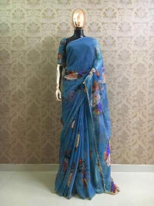 Party Wear Pure Georgette And Light Blue Digital Print Sarees