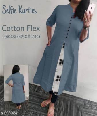 Selfie Cotton Kurtis Grey Colors