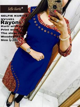 Selfie Blue Color Rayon Kurtis