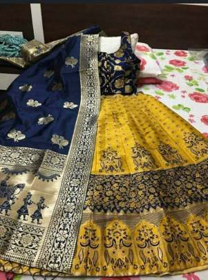 Semi Stitched  Banarasi brocade Lehenga With  Blouse And Banarasi Dupatta