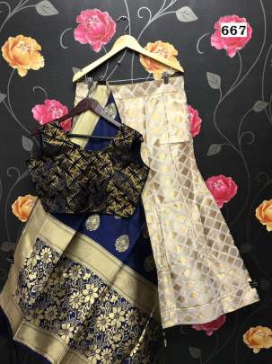 Semi Stitched  Banarasi brocade Lehenga With  Blouse And Dupatta