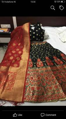 Semi Stitched  Banarasi brocade Lehenga With Stitched  Blouse And Banarasi Dupatta